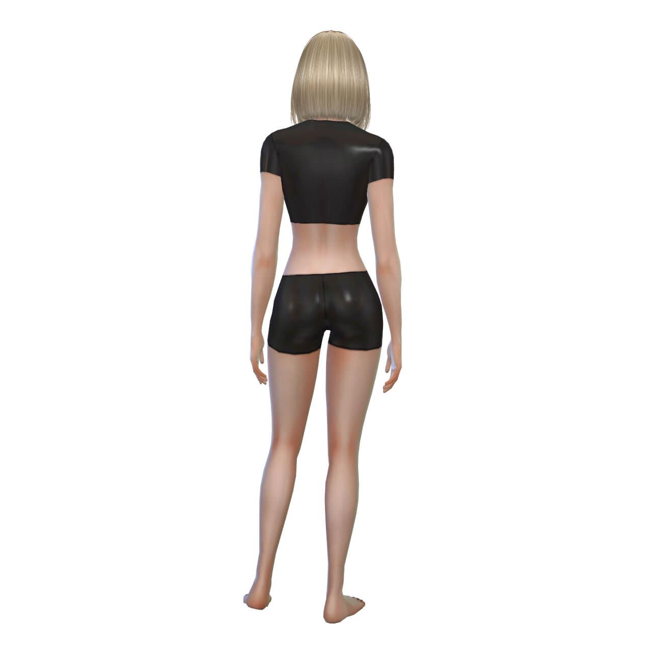 Latex Shorts and CropTop