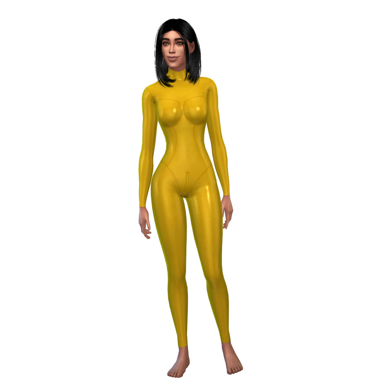 Latex Basic Suit with zipper closed