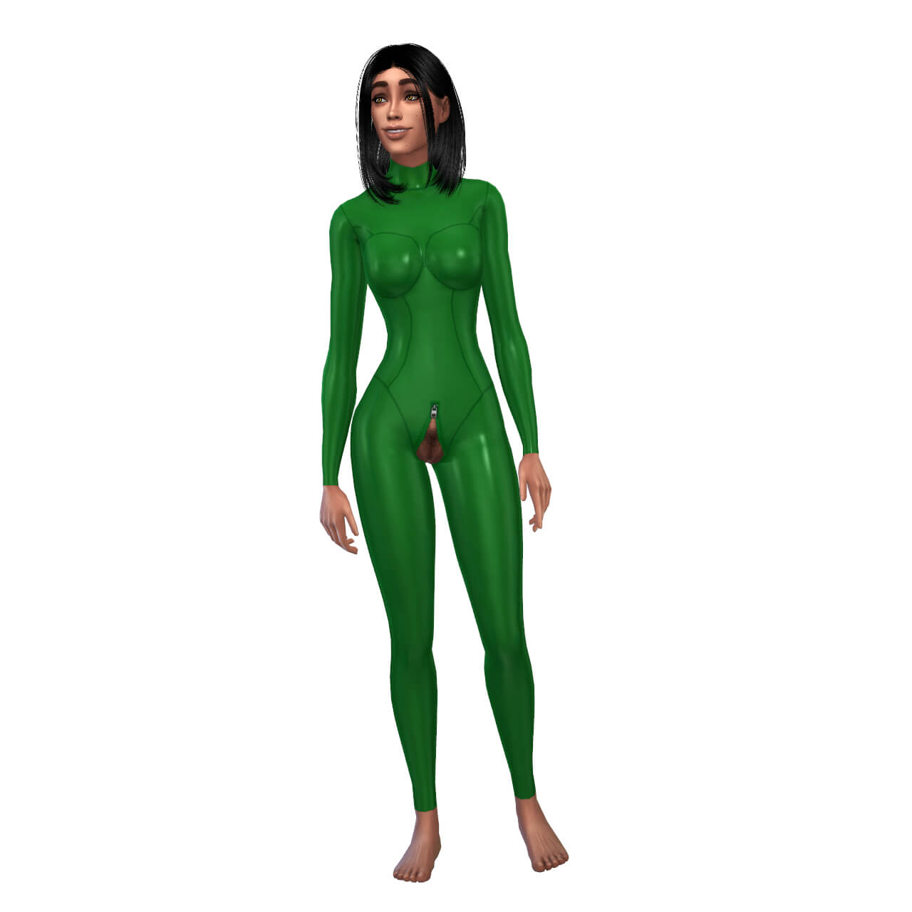 Latex Basic Suit with zipper open
